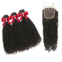 Free Shipping raw virgin brazilian kinky curly hair weave 3 bundles deal with 4x4 lace closure kinky curly bulk human hair
