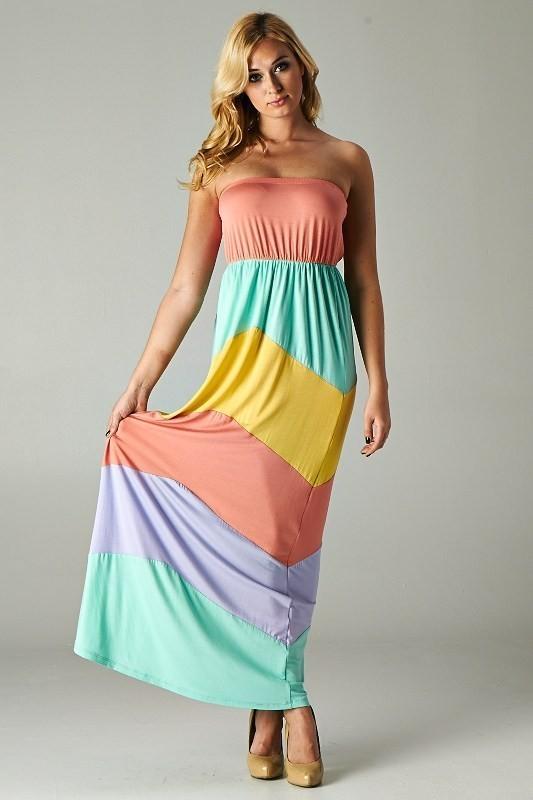 New Women Pastel Striped Maxi Dress Strapless Soft Jersey Long ...