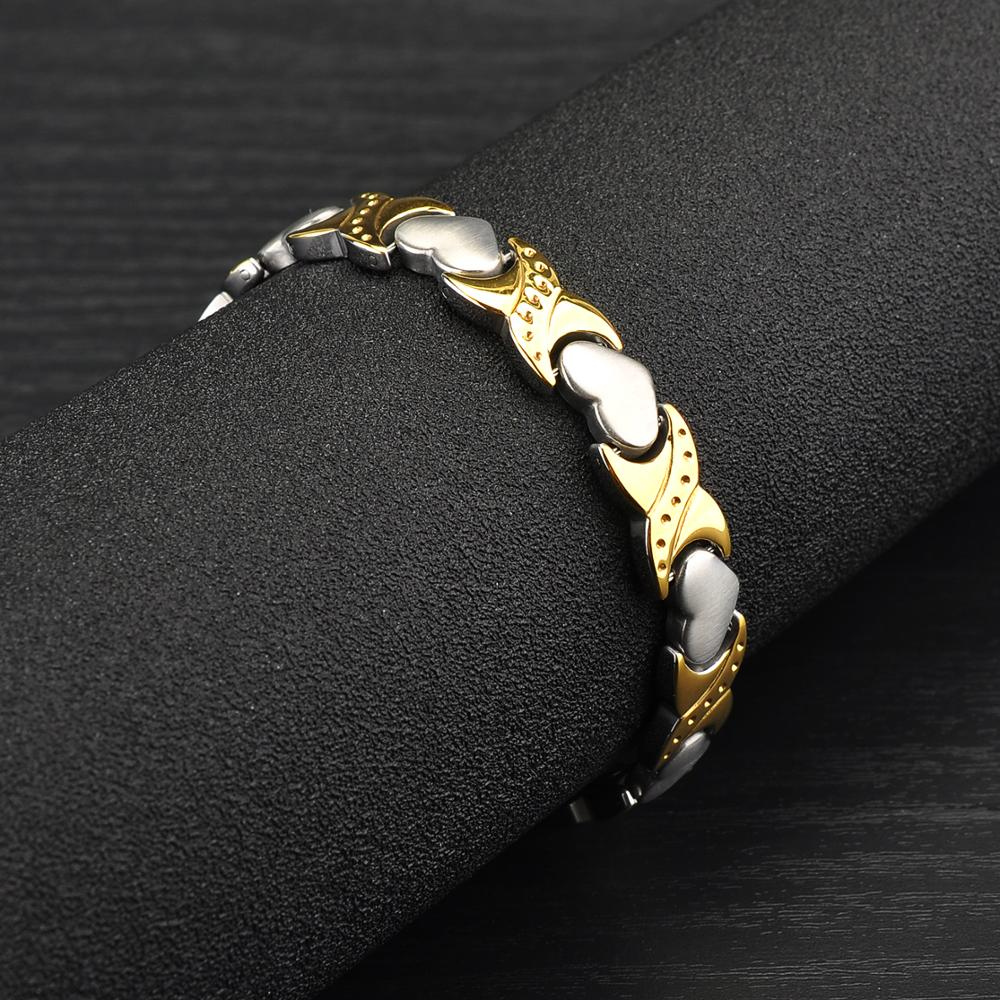 Wholesale Two Tone Silver Gold Heart Design Women Health Titanium Magnetic Bracelet Japan