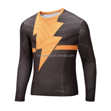 Men's Sports Wear Lycra 3d Tights Clothing Custom Sublimation Gym Fitness t-shirt compression long sleeve shirt