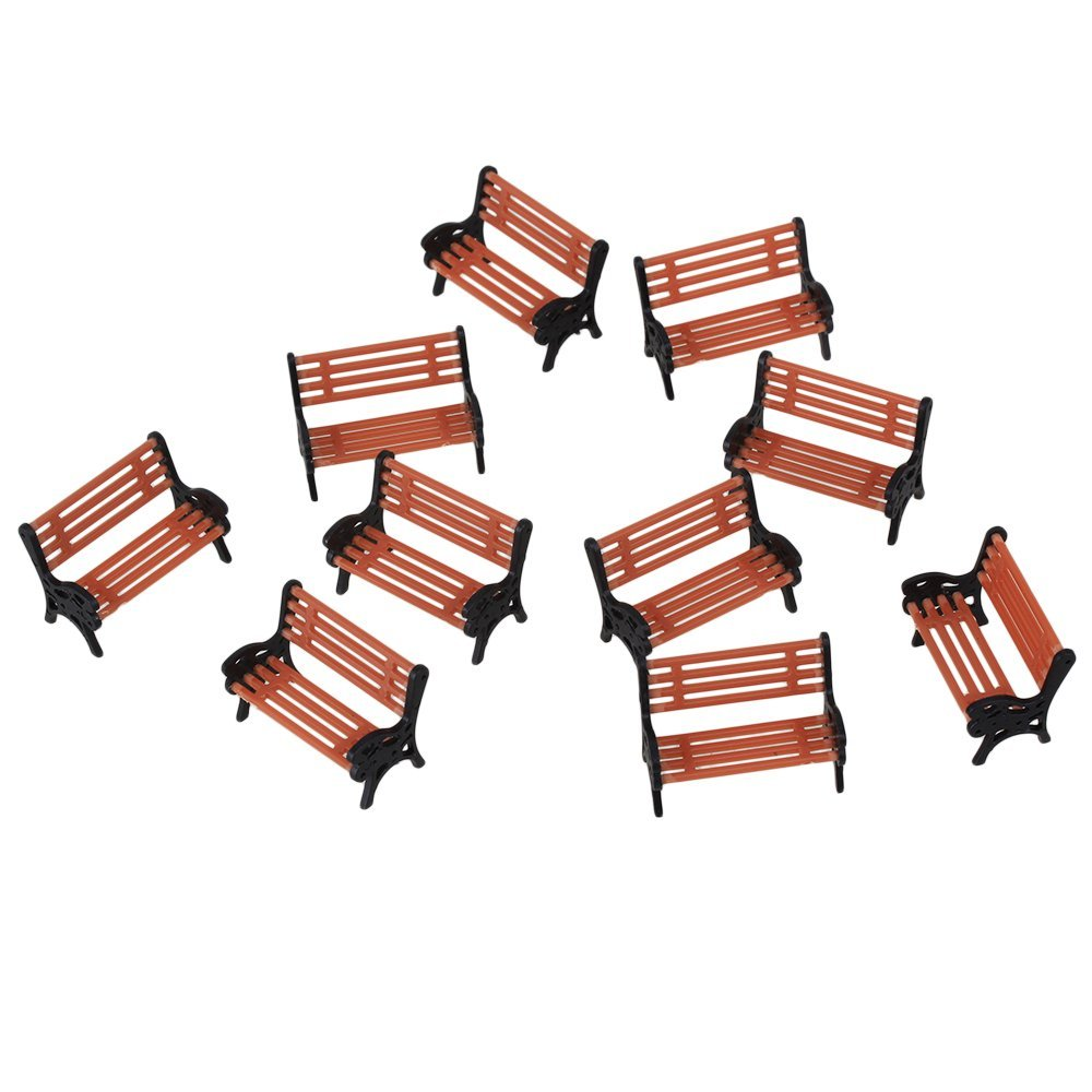 WEONE Black and Orange Model Bench Chair 1:50 Scale Train Platform Garden Park Street Scenery Layout (Pack of 10)