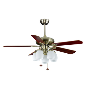 52 inch decorative light ceiling fan five pieces poly wooden blades pull chain switch pure copper motor