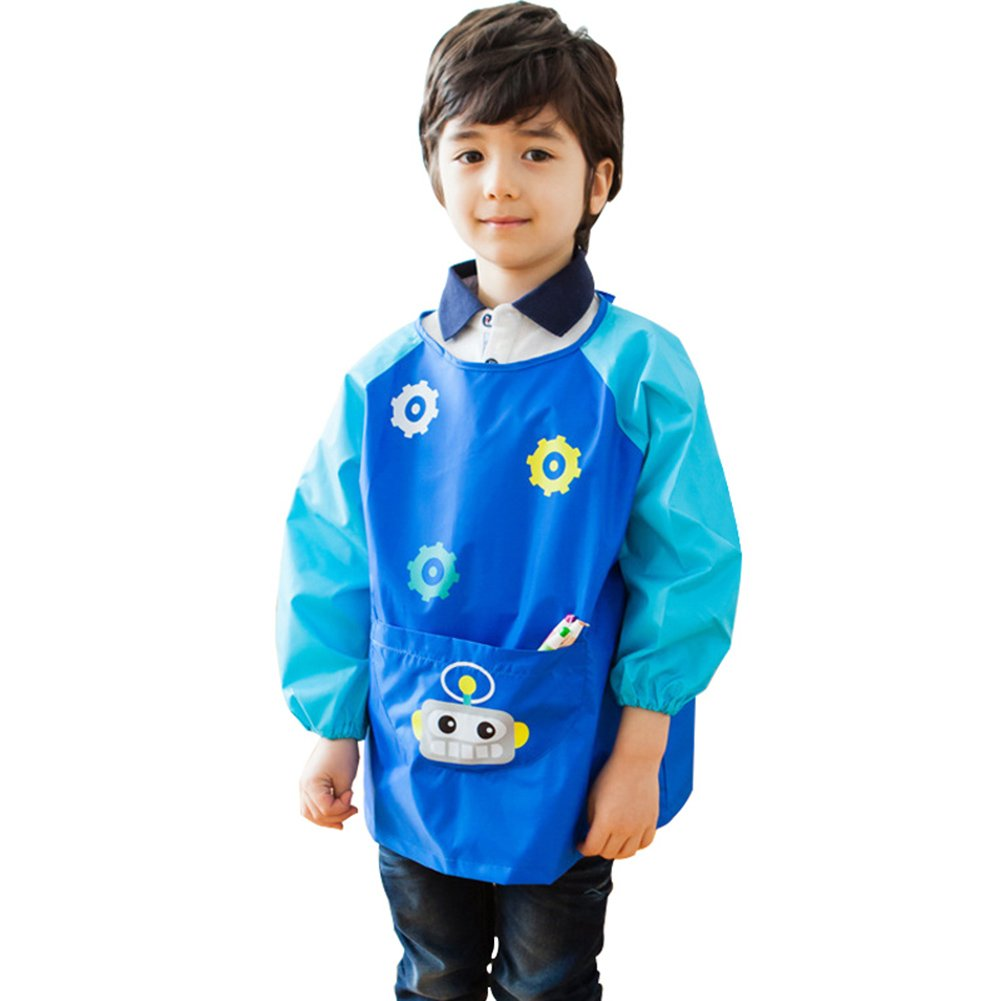 Creation Core Children Waterproof Art Smock Long Sleeve Kids Art Aprons Bib For Painting, Ages 9-12, Dark Blue XL(Pens and Brushes Not Included)