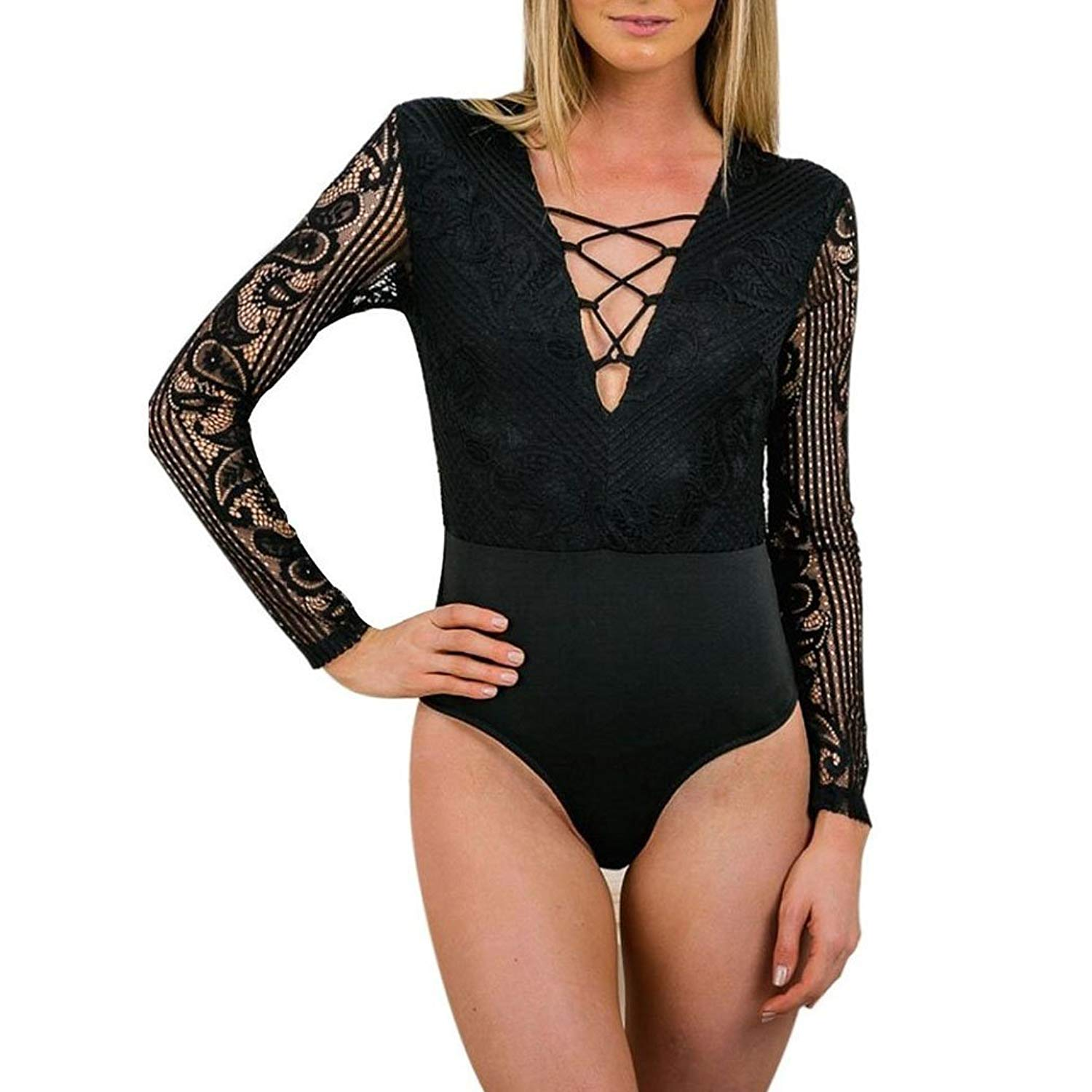 Get Quotations · Sumtory Women Sexy V Neck Bandage Lace Stitching Sleeve  Romper Thong Bodysuit 73a3a7ddc
