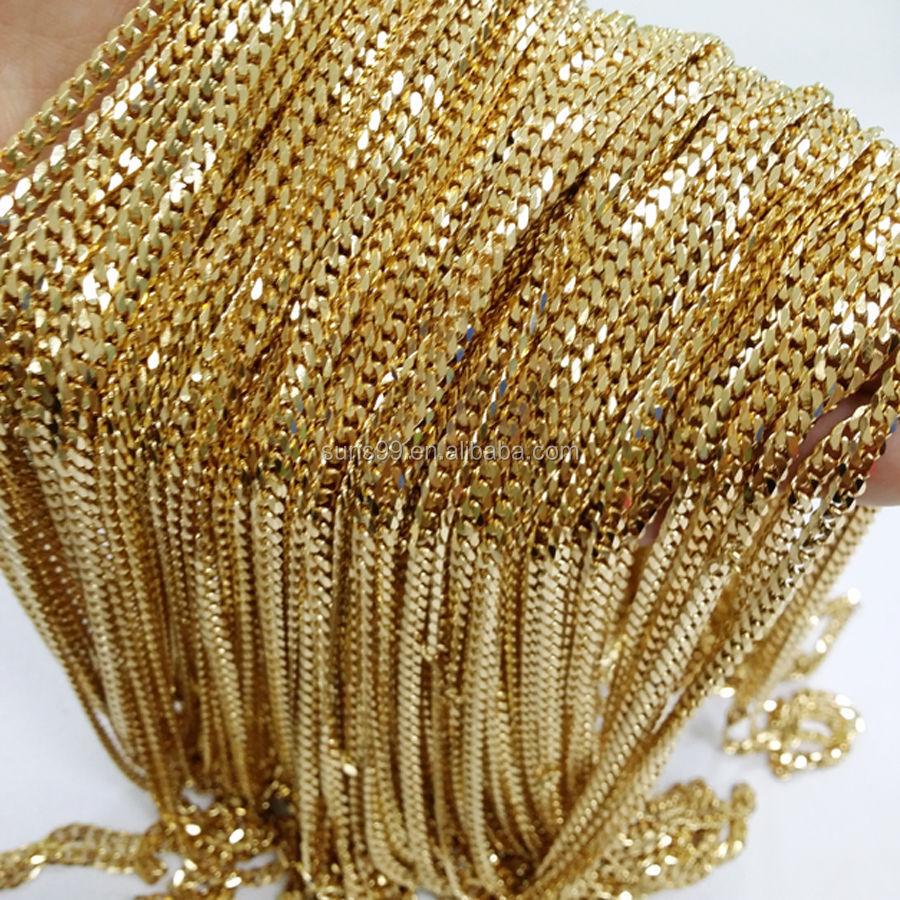 Großhandel In Groß DIY Schmuck Gold Edelstahl Curb Kubanischen Kette Halskette 4mm