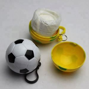 Football rain poncho,rain coat in ball,Football Disposable PE raincoat  aponchoes in plastic soccers ball