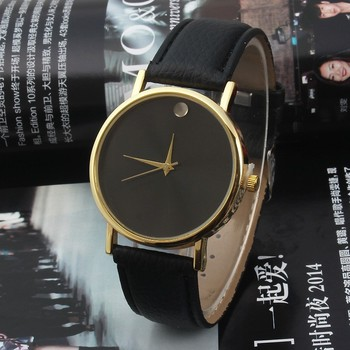 2015 New Leather Band No Word Black Dial Lover Pair Quartz Wrist Watch