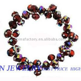 Latest fashional elastic red faceted beautiful bead bracelet