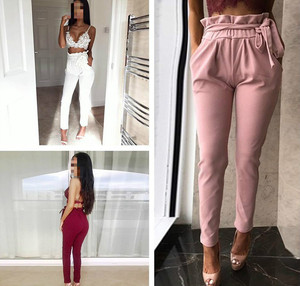 L2493A summer women casual harem lace-up high waist loose elastic leisure trousers pants