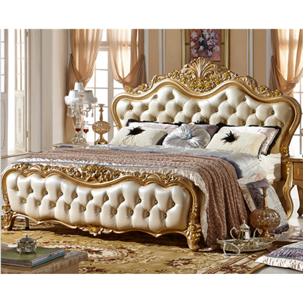 French Style Antique Design King Size Wood Luxury Genuine Leather Bed
