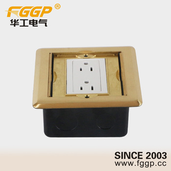 Brass Alloy Floor Mounted Duplex Receptacle Outlet With Electrical