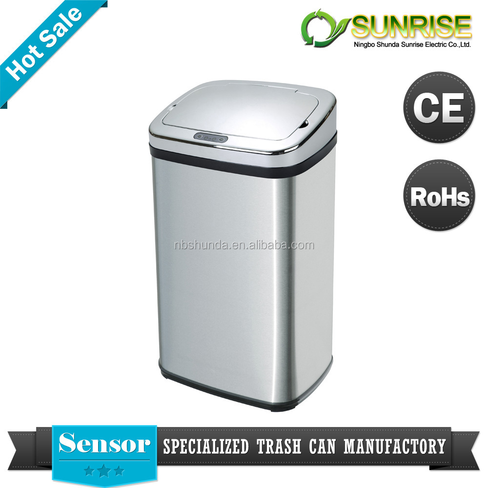 garden waste bin infrared sensor automatic stainless steel dustbin