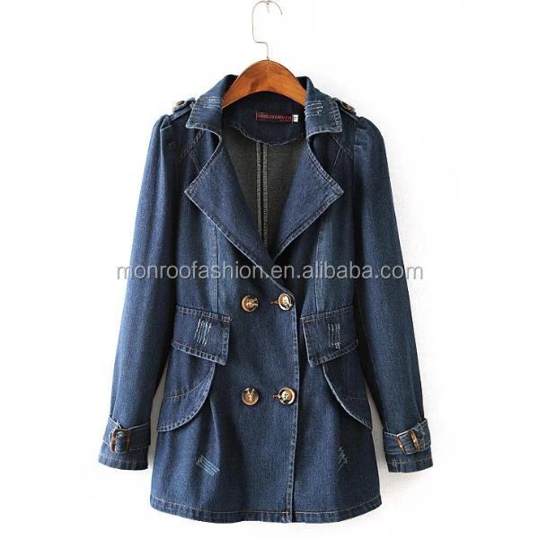 monroo Wholesale women trench coat Slim fit double breast long denim coat for women