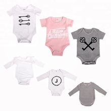 Hot Sell 100% Cotton wholesale Plain Soft Customized Yarn Dyed Striped Blank Newborn Baby Romper