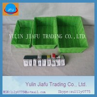 Green rectangle handmade weaving flat gift plastic storage basket