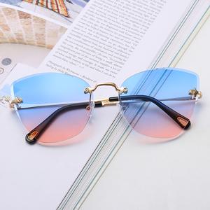2019 frameless colorful women cat eye sunglasses