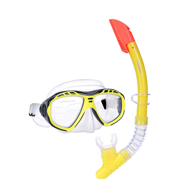 Marca original qualidade superior freediving dry snorkel set silicone mask
