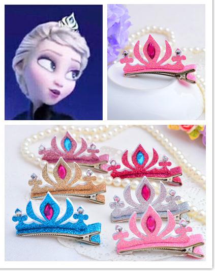 6pcs Girls Birthday Gift Tiaras Hair Clips Elsa Princess Crown Head Band Wear Kids Hairpins font