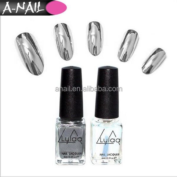 Hot! Women's Fashion 2Pcs 6ML Silver Metal Painted Mirror Effect Nail Polish + Base gel