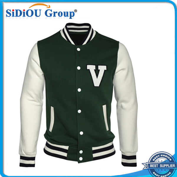 Leather Green Baseball Jacket Polyester Winter Jacket - Buy ...