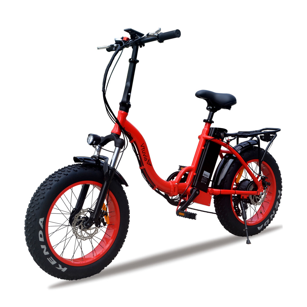 VTUVIA E-bike 48V 500W brushless motor Electric bicycle 7 Speed 20 inch Fat tire Mountain Snow Electric bike with Li-ion battery