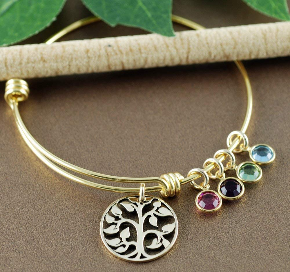 646f775675bc Get Quotations · Gold Family Tree Bracelet with Birthstones