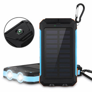 High Quality 10000mah Waterproof Solar Power Bank Solar Mobile Charger 2 USB Power with Compass LED Light power bank for iPhone