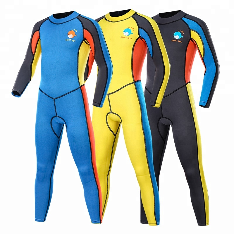Nieuwe collectie kids 2mm full body neopreen wetsuit back zip custom logo zwemmen pak