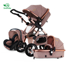 2017 Aluminium tube golden baby stroller 3 in 1china manufactured baby kids stroller with carseat
