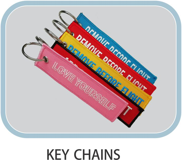Superior Quality Customized Double Sided Chains Promotional Woven Embroidery Fabric Keychain Custom Letter Embroidered Key Chain