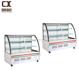 Commercial curved sliding glass door supermarket showcase refrigerator price