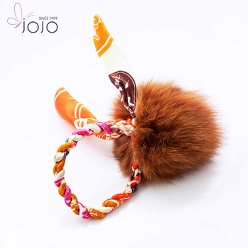 Big Brown Pom Pom Elastic Hair Band with Flower Ribbon Bow