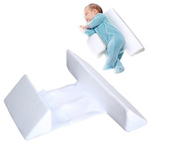 Anti roll adjustable foam safe protective wedge velvet fabric baby side sleep pillow for newborn baby