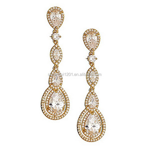 Clear Crystal gold Dangle Plugs Gauges Tunnels Studs Made With crystal Elements Wedding Bridal