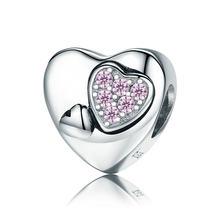 100% 925 пробы Серебряный подарок матери для мамы сердце любовь, сердце, кубический циркон Char подходит оригинальный Pandora браслет бусины ювелирн...(Китай)