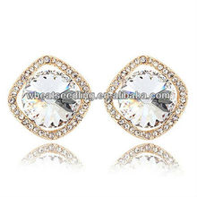 Fashion Elegant Alloy Crystal Square Shape Stud Earrings Jewelry 2012091557
