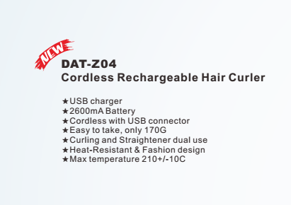 Personalized new style cordless rechargeable professional brand automatic hair curler