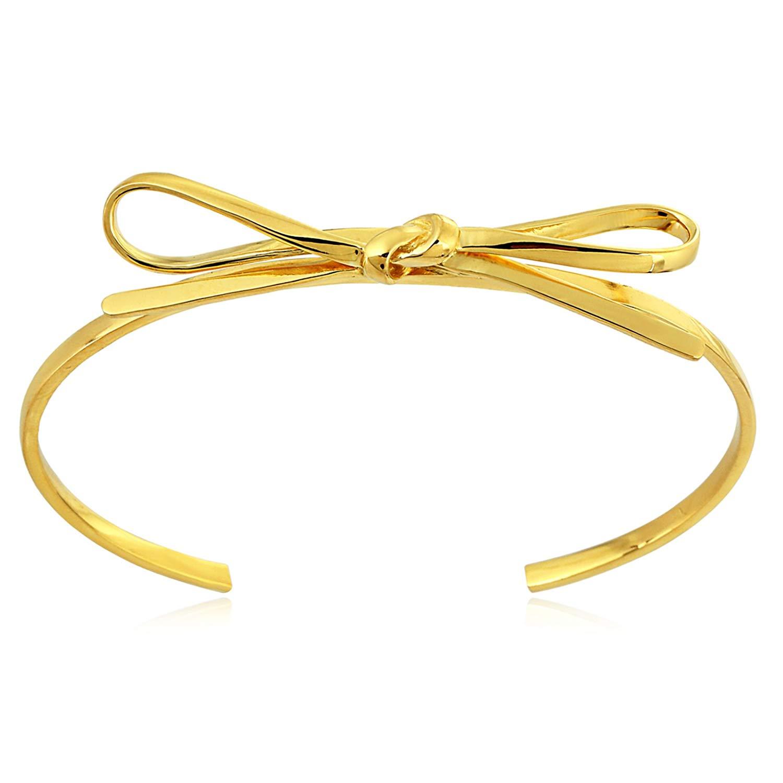 Stellar Designs Yellow Gold Overlay Plain Fashionable Love Knot Stretchable Brass Cuff Bracelet