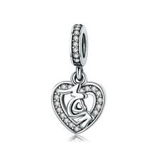 100% 925 пробы серебро Подходит оригинальный Pandora модный браслет любовь мать Шарм, красный и прозрачный CZ бусины(Китай)
