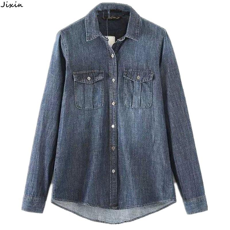 fdb6b33e Get Quotations · Blue Jean Shirt Women 2015 New Fashion Double Pocket Long  Sleeve Cotton Denim Shirt Brand Blouse