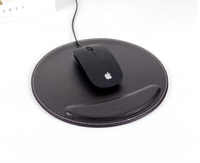 Durable high quality leather round mouse pad with wrist rest