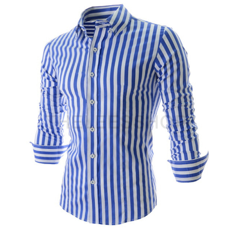 Men's Wrinkle-Free Dress Shirt Casual Striped Long Sleeve Western Style Shirt. from $ 15 99 Prime. out of 5 stars 5. ZEROYAA. Mens Casual Pinstripe Slim Fit Button Down Shirts with Pocket/Striped Tops $ 14 95 Prime. out of 5 stars Verno.
