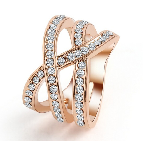 Fashion Style Zircon CZ Engagement 18K Gold Plated Wedding Finger Rings For Women Austrian Crystal Size 6,7,8,9 Free Shipping