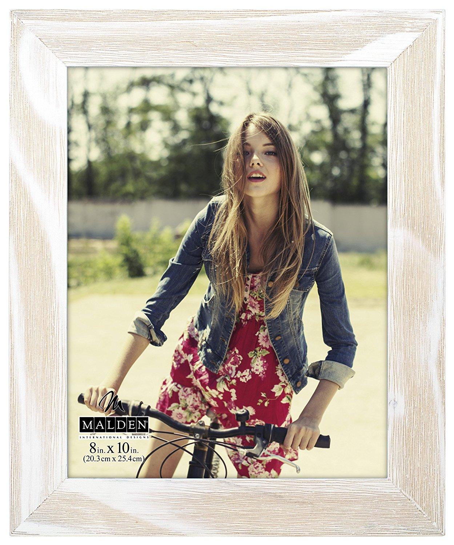 Malden International Designs Rustic Fashion Wide Linear White Wash Wooden Picture Frame, 8x10, White
