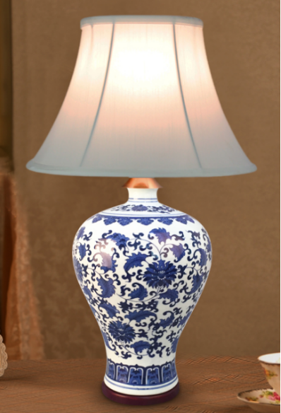 Factory Sale Chinese White Blue Porcelain Table Lamp