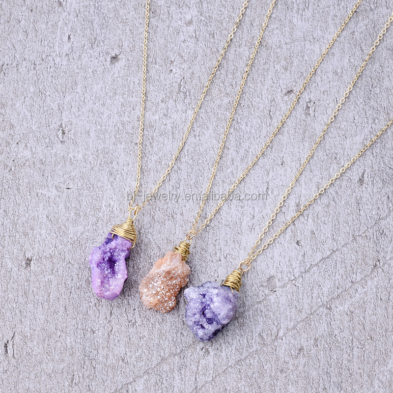 New Design Natural Stone Amethyst Druzy Pendant Jewelry Gold Chain Necklace