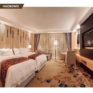Luxury 5 star hotel bed furniture with cabinet/ hotel room beds