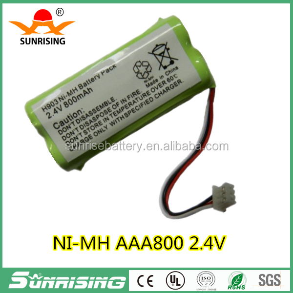 Sunrise 2.4V AAA 800mAh NI-MH Battery pack with connectors for cordless phone A120/A140/interphone