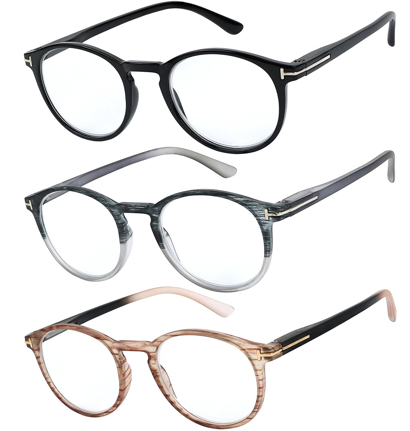 cae3ae07875 Get Quotations · Reading Glasses Set of 3 Great Value Quality Fashion  Readers Spring Hinge Glasses for Reading Men