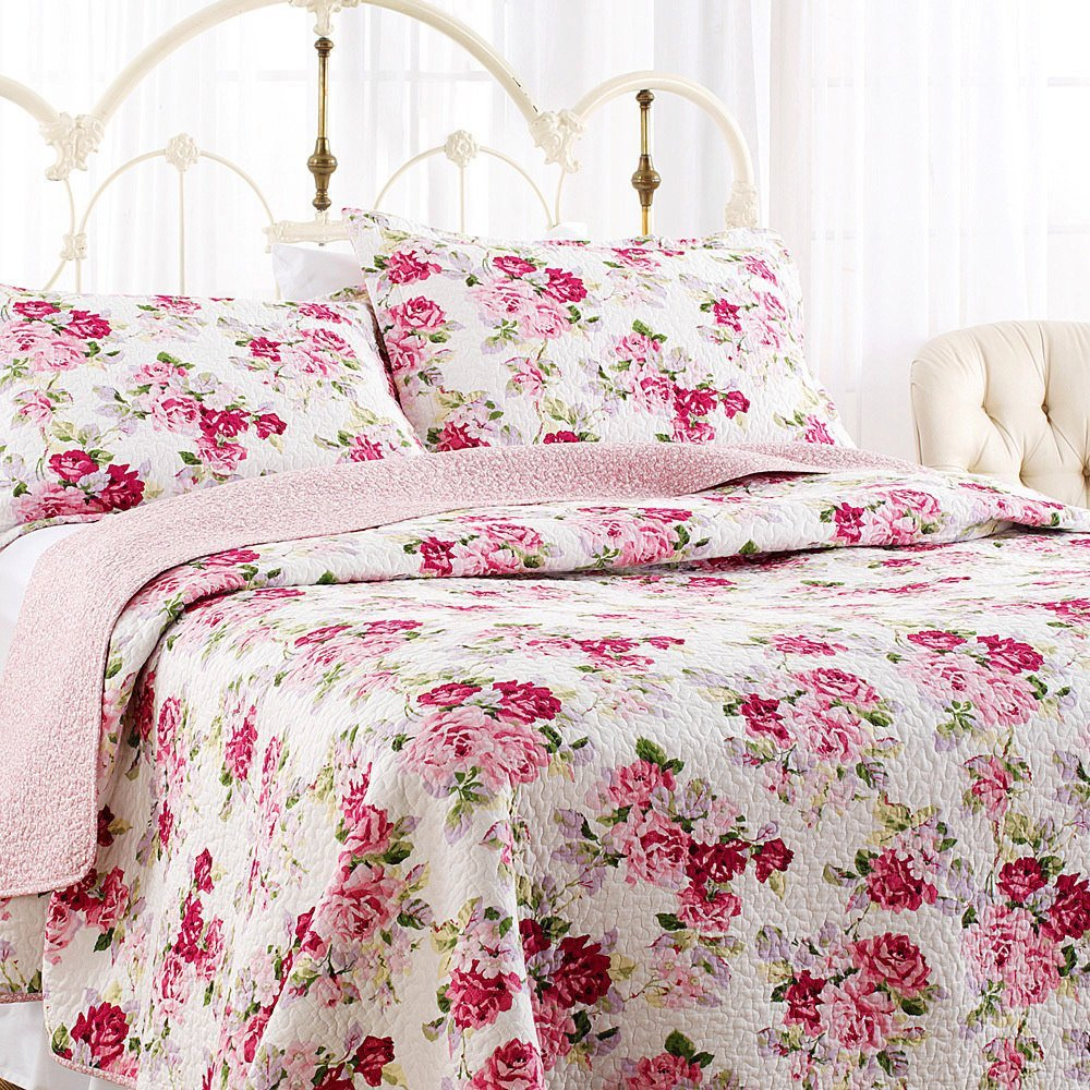 2 Piece Pink White Floral Quilt Twin Set, Green Red Light Pink Coastal Flowers Printed Reversible Shabby Chic Adults Bedding Master Bedroom Traditional French Country Elegant, Cotton